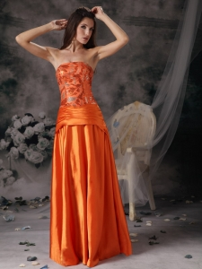 Orange Red Sequins Strapless Floor-length Prom Dress