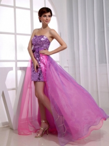 Paillette Beading Strapless High and Low Prom Dress Fuchsia