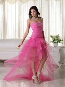 Pink Sweetheart High-low Organza Beading Prom Dress