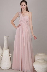 Empire One Shoulder Floor-length Chiffon Beading Prom Dress