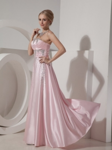 Pink Strapless Floor-length Beaded Prom Dress 2013
