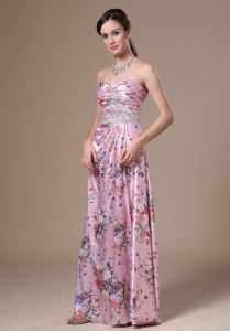 Print Beading Floor-length Sweetheart 2013 Prom Dress