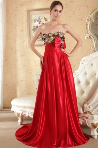 Colorful Beaed Empire Sweetheart Court Train Evening Dress
