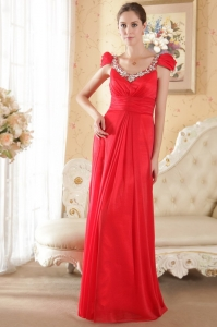 Red Empire Scoop Brush Train Chiffon Beading Prom Dress