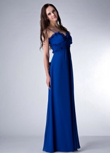 Royal Blue Empire Straps Floor-length Prom Dress