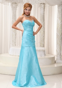 Ruched and Beading A-line Aqua Blue Prom / Evening Dress