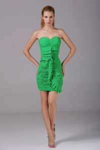 Ruched Spring Green Mini-length 2013 Prom Dress