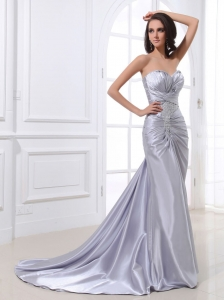 Silver Custom Made Prom Dress with Ruched Beading Bodice