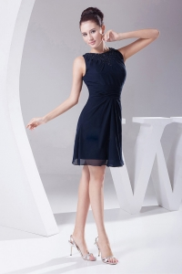 Simple Navy Blue Knee-length Scoop 2013 Prom Dress