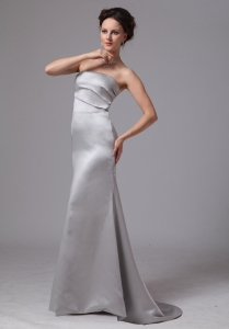 2013 Silver Column Satin Brush Train Prom Dress