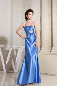Blue Bridemaid Dress With Strapless Floor-length Satin