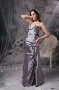 Grey A-line V-neck Floor-length Taffeta Celebrity Dress