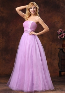 Strapless Tulle Lavender Princess Prom Dress 2013