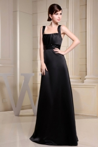 Straps Black Prom Dress With Belt A-line Floor-length
