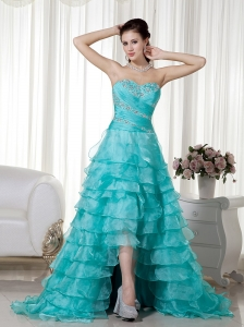 Blue 2013 A-line Sweetheart Prom Dress ruffled layers