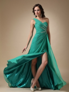 turquoise One Shoulder Brush Train Beading Prom Dress