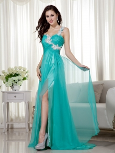 Turquoise Empire One Shoulder Brush Train Appliques Prom Dress