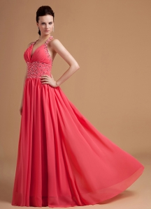 Watermelon 2013 Prom Dress With Beaded Halter Chiffon
