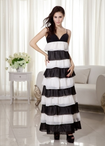White and Black Spaghetti Straps Ankle-length Prom Dress