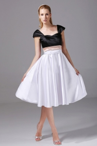 White and Black Satin Knee-length 2013 Prom Dress