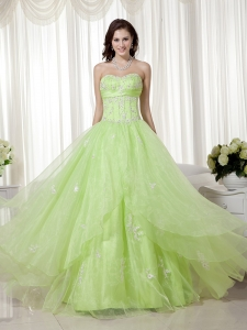 Yellow Green A-line Sweetheart 2013 Prom Dress beaded