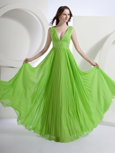 Empire Deep V-neck Chiffon Spring Green Prom Dress with Pleat
