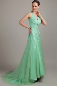 V-neck Apple Green Column Brush / Sweep Tulle Beading Prom Dress