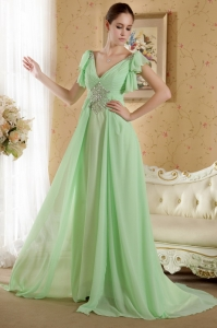 Empire V-neck Ruffled Short Sleeves Chiffon Beading Prom Dress