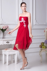 Appliques Strapless Asymmetrical Red 2013 Prom Dress