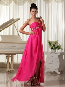 One Shoulder Beading Hot Pink High-low Prom Dress
