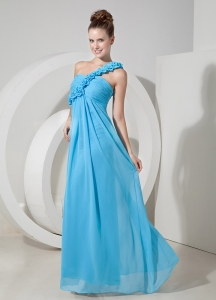 Empire One Shoulder Floor-length Hand Made Flowers Evening Dress