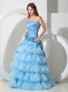 Sky Blue A-line Floor-length Hand Flowers Prom Dress