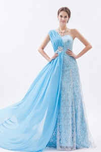 Baby Blue Empire One Shoulder Brush Train Chiffon Lace Prom Dress