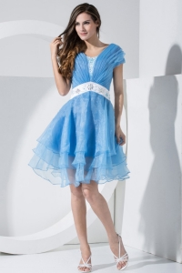 Baby Blue Sleeves Knee-length Prom Dress With Ruching and Sash