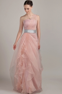 Baby Pink Column/Sheath One Shoulder Organza Ruffles Prom Dress