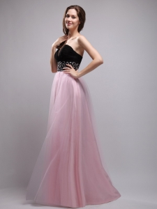 Black and Baby Pink Column Sweetheart Beading Prom / Evening Dress