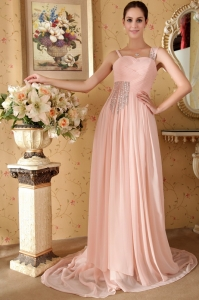 Baby Pink Empire Straps Court Train Beading Prom Dress