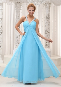 Beaded V-neck Aqua Blue Prom / Evening Dress 2013
