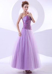 Beading and Appliques Taffeta and Tulle Ankle-length Prom Dress