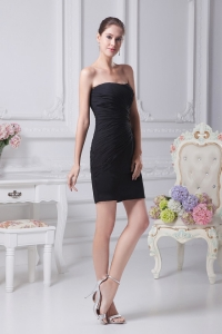 Ruching Black Strapless Mini-length 2013 Prom Dress