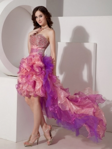 Colorful Sweetheart High-low Beading Prom Dress