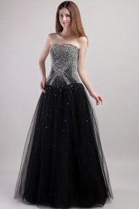 Black Tulle Column Strapless Beaded Decorated Bodice Prom Dress