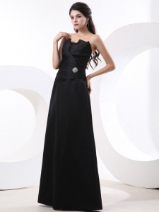 Black Prom Dress Strapless Ruffle and Floor-length