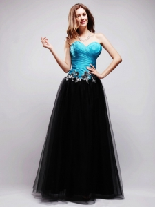 Black and Blue A-line Prom Dress Appliques Sweetheart Tulle