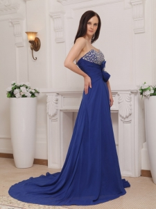 Sweetheart Blue Court Train Chiffon Beading and Bow Prom Dress