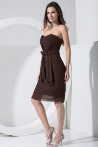 Brown Sweetheart Chiffon Bridemaid Dress With Chiffon Knee-length