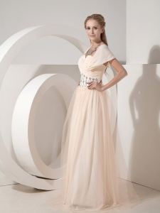 Champagne Column Sweetheart Floor-length Prom Dress with Beading