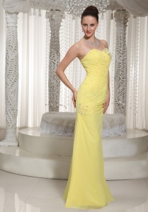 Yellow Sweetheart Prom Dress For Graduation With Beading