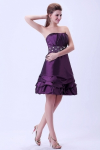 Dark Purple Beaded Waist Knee-length Prom / Homecoming Dress