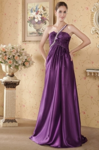 Eggplant Empire One Shoulder Brush Train Beading Graduation Dress